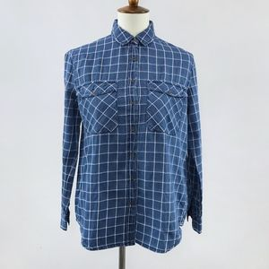 [Forever 21] Blue/White Grid Button Up Long Sleeve